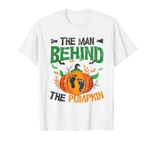Hombre Calabaza Anuncio de Embarazo en Pareja Halloween Camiseta
