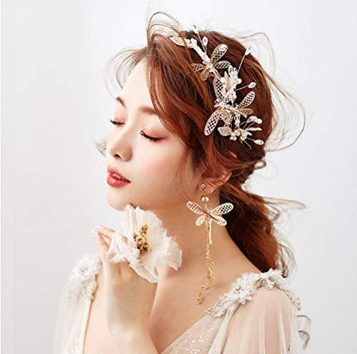 Rose Blonde Decoratie Set Dragonfly Klok Champagne Kwastje Oorbellen Mooie Bruiloft Headdress