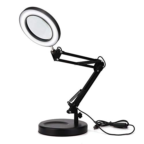 Pongnas 5X Lupen-Schreibtischlampe, Faltbare Lupen-LED-Lampe mit Sockel, einstellbare Desktop-Lupenlampe, USB-Desktop-Lupenlampe zum Lesen, Basteln, Tätowieren