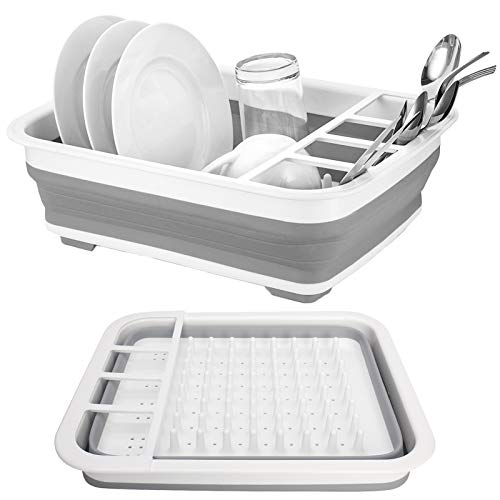 dish drainer for campers Collapsible Drying Dish Storage Rack Gray Space Saving Folding Dish,Collapsible Dish Drying Rack Popup and Collapse for Easy Storage for Kitchen,Camper,Travel Trailer