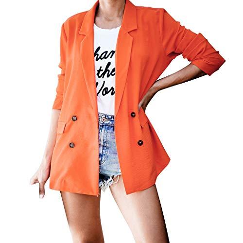 Vovotrade Damesjas blazer dames lange mouwen grote oversized jas dames elegant lange mouwen blazer color effen slim fit revers kantoor jas