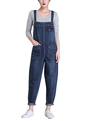 Pantalon Mujer Monos Largos Petos Vaqueros Jeans Elásticos Pantalones Jean Azul 2XL