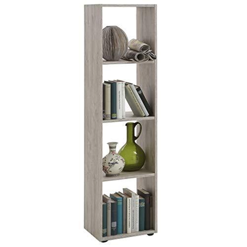 FMD furniture Bücherregal Raumteiler Ordnerregal mit 4 Fächern stehend oder liegend in Sandeiche für Wohnzimmer, Büro, Kinderzimmer