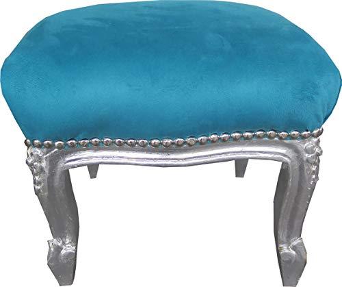Casa Padrino Barock Fußhocker Blau/Silber - Antik Stil Möbel - Hocker