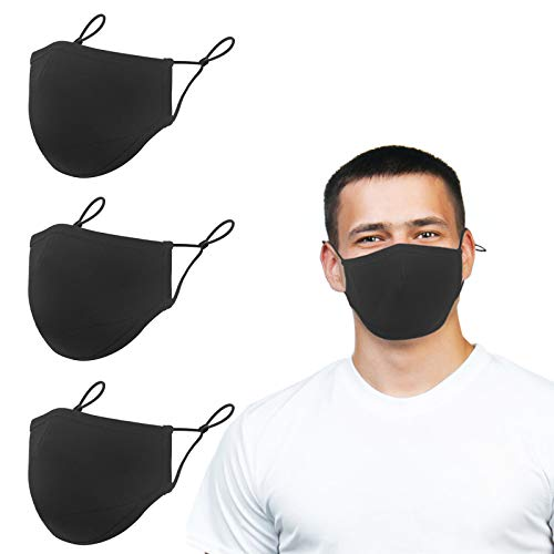 Adjustable Face Protector Cloth Mouth Shield Washable Reusable - Black Cotton 3 Layers Safety Shield Protection for Unisex Youth Adult Home Office Work Outdoors - Large (3 Pack)