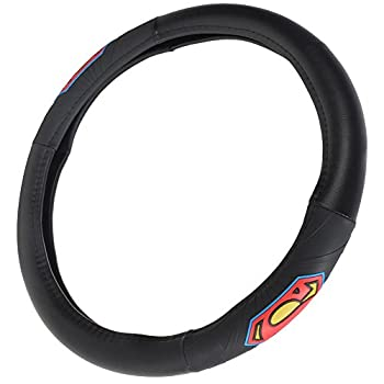 BDK Superman Car Steering Wheel Cover - Officially Licensed Warner Brothers Product Universal Fit for Steering Wheels Between 14.5 to 15.5 Inch