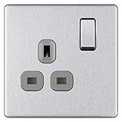 SCREWLESS SLIM LINE BRUSHED STEEL SINGLE SWITCHED POWER SOCKET: From BG Electrical, has softly rounded corners with a screwless flat plate – giving a clean look that exudes modern elegance PART OF THE NEXUS METAL RANGE: The power socket has a secure ...