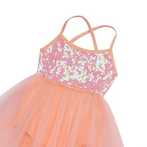 iiniim Girls Leotard Dress Ballet/Dance/Gymnastic Tutu Skirt Dancewear Costume Age 2-12 Years Orange Ballerina 2-3 Years