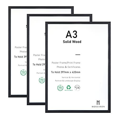 Cornice per foto in legno con certificato A3, confezione da 3 cornici in legno nero con plexiglass per montaggio a parete, 29,7 x 42 cm, set da 3