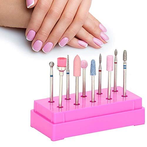 Forets à ongles Forets à ongles Set 10pcs/Set Forets à ongles File Tête de meulage Set Manucure électrique Pédicure Nail Art Tools(Rose)