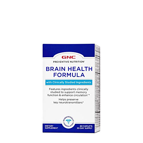 GNC Preventive Nutrition Brain Health Formula, 60 Caplets, Supports Memory Function and Enhances Circulation