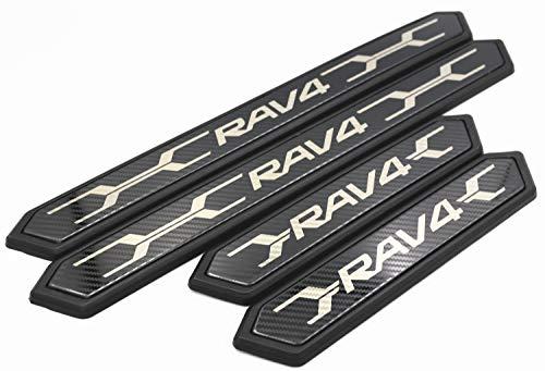 COLLINS PLUS トヨタ (TOYOTA) RAV4 50系 MXAA52 MXAA54 スカッフプレート ドアシル サイドステップ ガーニッシュ フロント/リア パーツ アクセサリー (カーボン)