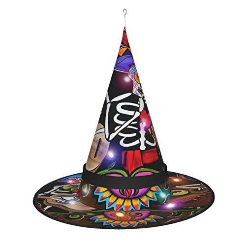 MXDISIWD Mariachi Band Sombrero de bruja de Halloween con disfraz de bruja ligera para fiesta de Halloween