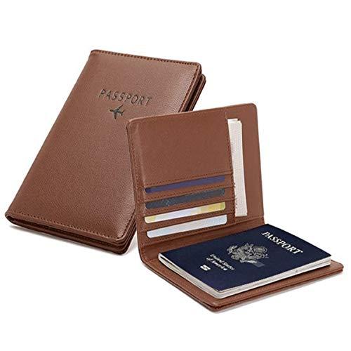 PALMFOX Funda de Cuero para Billetera, Pasaporte, Cubierta de Bloqueo RFID, Funda de Tarjeta de Cuero, Funda de Organizador de Documentos de Viaje, incluidos 7 Colores.