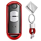 Key Protection Shell Auto Schlüssel Hülle Key Cover Case Etui Silikon mit Schlüsselanhänger Für Mazda CX-9 CX-7 CX-5 CX-4 Mazda 8 6 5 3 MX5 2 3 4 Buttons Rot
