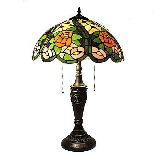 HYWFX 2 Luces Pastoral Tiffany Style Lámpara de Mesa, jardín Rosa 16 Pulgadas de Cristal manchada de 16 Pulgadas Lámpara de Lectura de Base de Resina para Sala de Estar Dormitorio