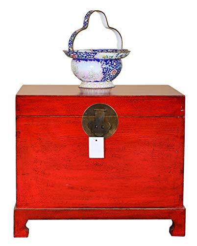 Fine Asianliving Chinesische Aufbewahrungskiste Orientalische Möbel Truhe Holztruhe Dekotisch Truhenbank Massiv Holz Groß Deckel Couchtisch Tischtruhe Sitztruhe Truhe Antik 62 x 45 x 51cm