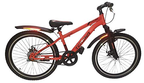 Terona Mountain 24T Single Speed Cycle Dual Disc Brake Front Shocker Bicycle, Red, Men Women Boys, Age 13+ Years