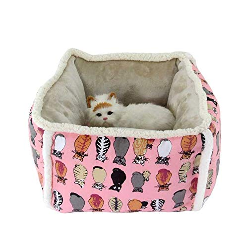 KDXBCAYKI Deep Sleep Pet Nest hoge kattentoilet Caldi Kenel Square Pet Supplies Wasmachine en droger Friendly Friends Forever Ortopedico bank Top Pet Bed, S, Roze.
