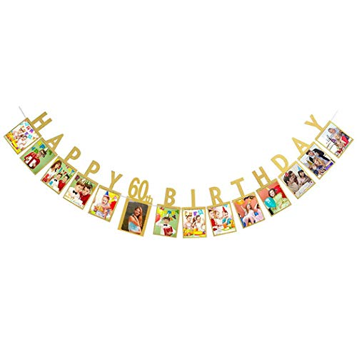 Dusenly Gold Happy 60th Birthday Photo Banner Photo Props Bunting Garland for 60th Birthday Party Decorations