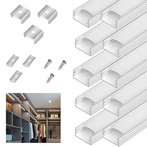 BENMA LED Aluminium Profil für LED Stripes, 90cm Aluprofil LED Streifenlicht, 10er-Pack Aluminiumkanäle mit komplettem Montagezubehör Abdeckungen in milchig-weiß für LED Stripe/Streifen