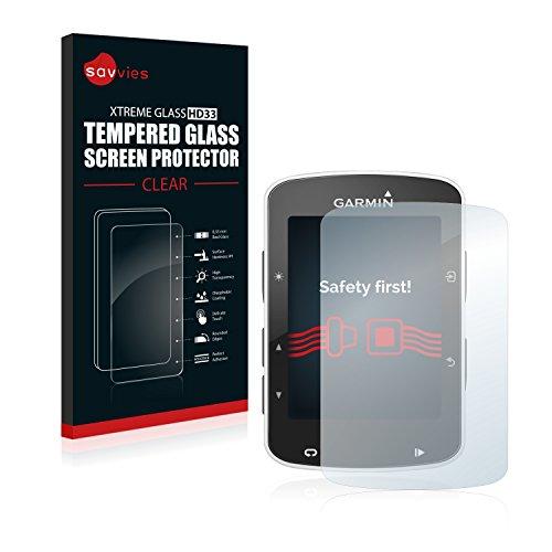 savvies Cristal Templado Compatible con Garmin Edge 820 Protector Pantalla Vidrio Proteccion 9H Pelicula Anti-Huellas