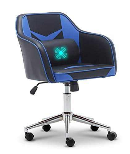 Apelila Massage Gaming Chair, Pu Leather Racing Chair Height Adjustable 360° Swivel Chair Rocking Chair with Lumbar Cushion Mid-Back Armchair Video Gamer Chair, Blue