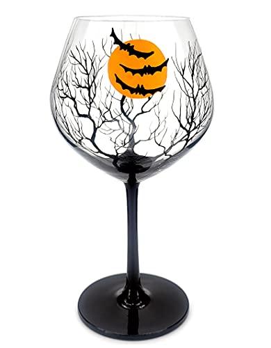 Bat Wine Glass 21 Oz Hand Painted Halloween Theme Bats Moon Tree Silhouette Spooky Party Decor