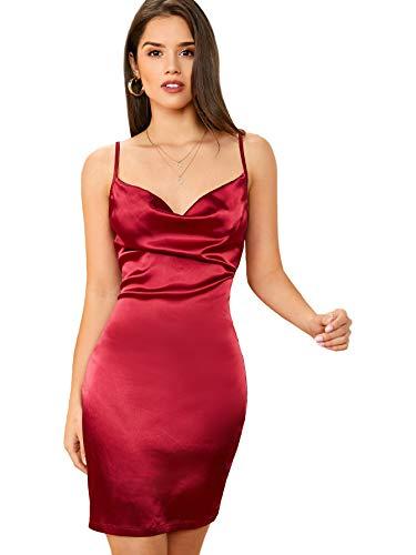 DIDK Damen Satin Kleid Cowl Partykleid Spaghettiträger Abendkleid Bodycon Bleistiftkleid Elegant Camisole Knielang Kleider Bordeaux XS
