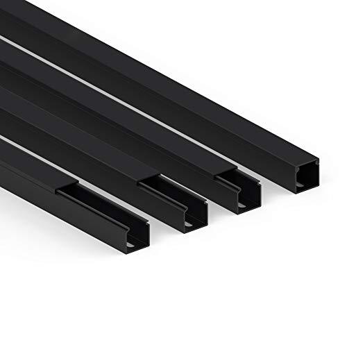 Habengut Kabelkanal (mit Montagelochung im Boden) 25x25 mm aus PVC, Farbe: Schwarz, Länge 4 m (4 x 1 m Länge)
