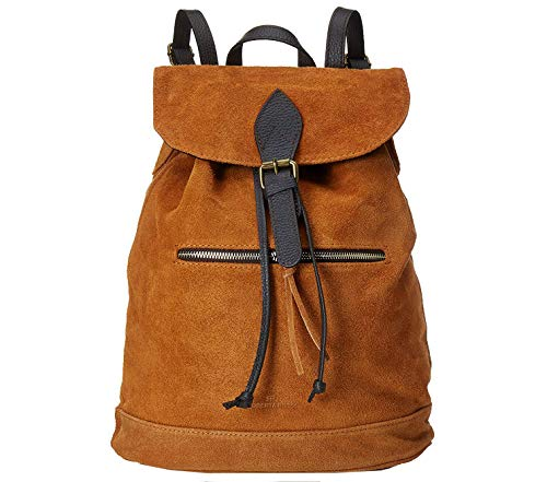 Roberta Rossi bolso mochila artesanías unisexo moda casual clásico Backpack cuero genuino gamuza Made in Italy 32x38x17 1,25 kg RR80ST022CGNAT_PNAT
