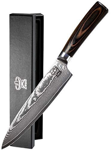 Zeuß XL Küchenmesser Damastmesser (32cm) - Profimesser - 67 Schichten Japanischem Damaststahl - Allzweckmesser - Kochmesser - Chefmesser - Santoku - Pro