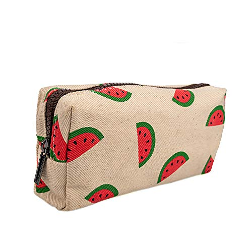 LParkin Watermelon Students Super Large Capacity Cute Canvas Pencil Case for Girls Pen Bag Pouch Stationary Case Gadget Makeup Cosmetic Bag Box