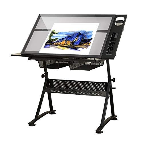 OTENGD Drafting Draft Desk mit Glasplatte, höhenverstellbarer Zeichentisch Craft Station mit kippbarer Tischplatte aus gehärtetem Glas und Aufbewahrungsschubladen zum Basteln von Zeichnungen