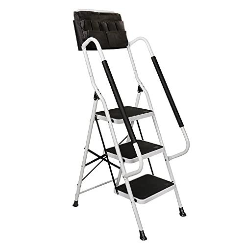 Support plus folding 3-step safety step ladder - padded side handrails...