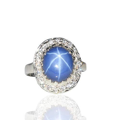 Anello zaffiro stella blu naturale Anello zaffiro stella blu argento 925 per regalo matrimonio