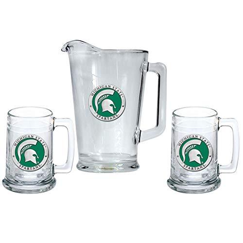 Heritage Metalwork Michigan State University Pitcher and 2 Stein Glass Set Beer Set
