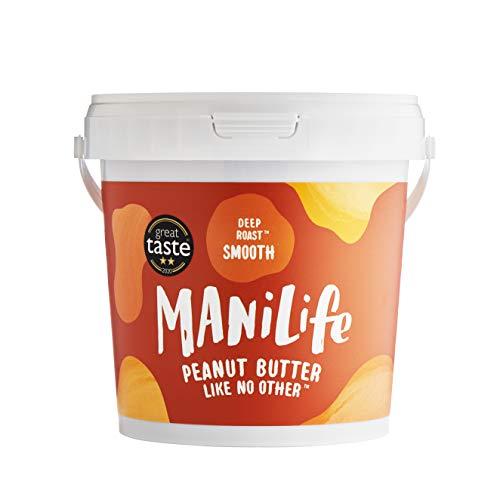 ManiLife Mantequilla de Cacahuete - Peanut Butter - Natural, de Origen único, sin Aditivos, sin Azúcar Añadida, sin Aceite de Palma - Cremoso Tostado Profundo - (1 x 1kg)