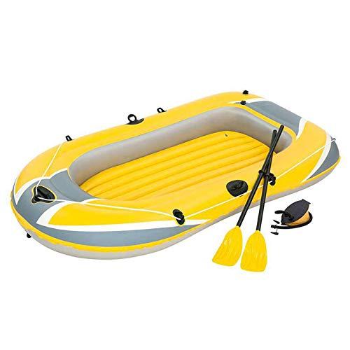 Barco inflable para 3 personas, kayaks hinchables, canoa con remo, bomba, válvula doble, PVC duradero, cañas, bote de pesca, bote de deriva, para vacaciones con familia y amigos