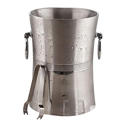 JLKDF Cubo de Hielo con Pinzas, Enfriador de Botellas Gruesas de Doble Pared de Acero Inoxidable Aislado, Enfriador de Cerveza para Bebidas, champán y Vino para Fiestas, Grande
