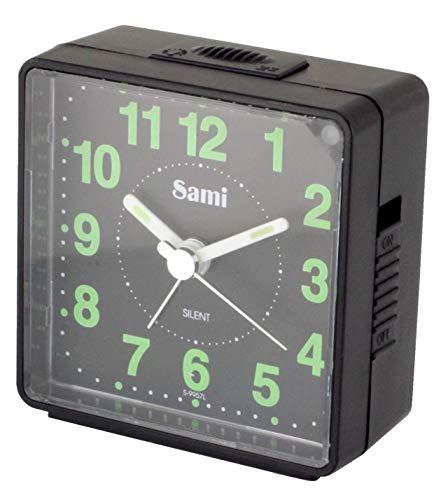 Sami-S9957NN wekker, vierkant, klassiek model, miniformaat, wekker met wekker en sluimerfunctie, met licht, uitschakelbare zijkanten, zwart en zwarte achtergrond.