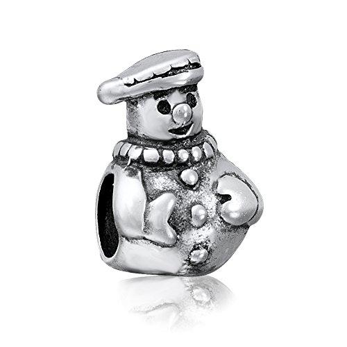 Andante-Stones - Original, Cuenta de Plata de Ley 925 sólida Muñeco de Nieve, Estilo Vintage, Elemento Bola para Cuentas European Beads + Saco de Organza