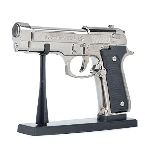 Shimal Antique Red Flame Metal Body Heavyweight Refillable Revolver Gun Banduk Shape Cigarette Gas Lighter With Stand, steel, Multicolour
