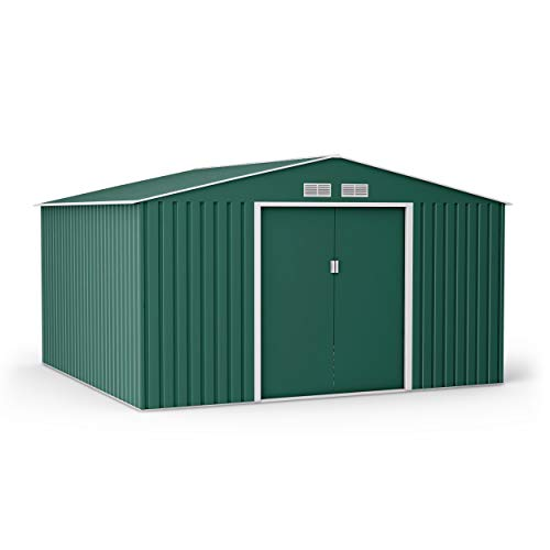 BillyOh Ranger Metal Shed Dark Green Apex Roof Lockable Garden Storage Shed Outdoor Galvanised Tool Box with Foundation Kit and Sliding Doors (11x10)