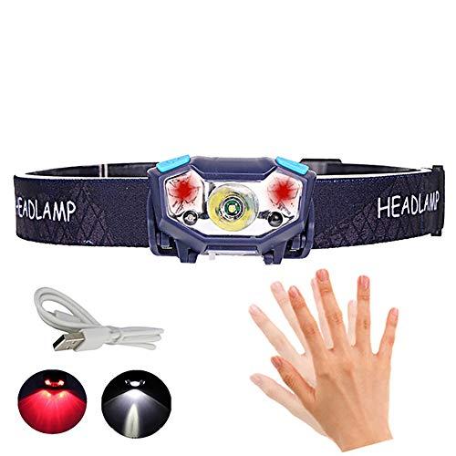 USB Wiederaufladbare Stirnlampe, Ultrahelle LED-Scheinwerfer Taschenlampe Mit Bewegungs Sensor XPE Lampenkugeln Mit 5 Beleuchtungsarten, IPX4 Wasserdicht Für Nachtlauf