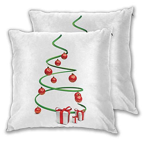 Christmas Throw Pillow Cover, 24 x 24 Inch Abstract Xmas Tree Design Baubles and Ribbon Boxes December Ornaments Modern Room decoration Christmas decoration Green Red White Set of 2