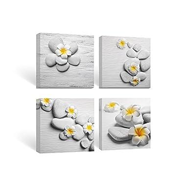 SUMGAR Framed Wall Art for Bathroom Canvas Paintings for Bedroom Yellow Flowers Frangipani Zen Stones,12''x12''x4