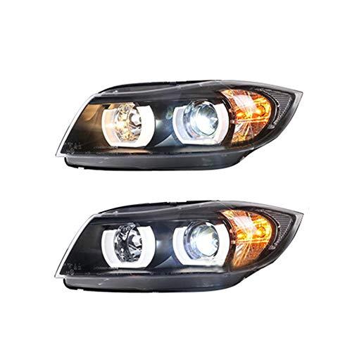 Juego de 2 faros delanteros para proyector E90 Lamando de doble haz de xenón HID con luces LED de circulación diurna, para modelos 2005 2006 2007 2008 2009 2010 2011 2012 2013 2014 2015