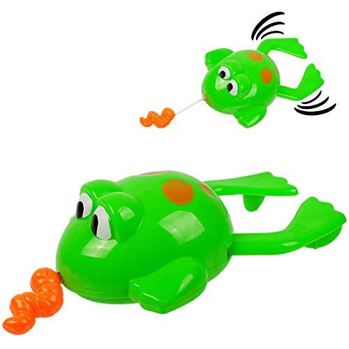 alles-meine.de GmbH 2 Stück _ Aufziehtiere / Badewannenspielzeug - Frosch mit Wurm - zum Aufziehen - schwimmt selbst im Wasser - Schwimmtier / aufziehen - für Badewanne / Badespi..