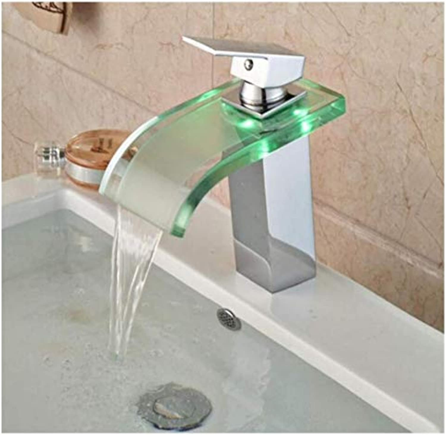 Chrome-Plated Adjustable Temperature-Sensitive Led Faucetsingle Handle Square Led Light Bathroom Sink Mixer Water Taps